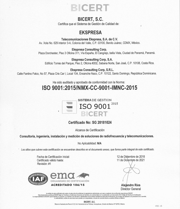 2018 ISO9001:2015 Certification